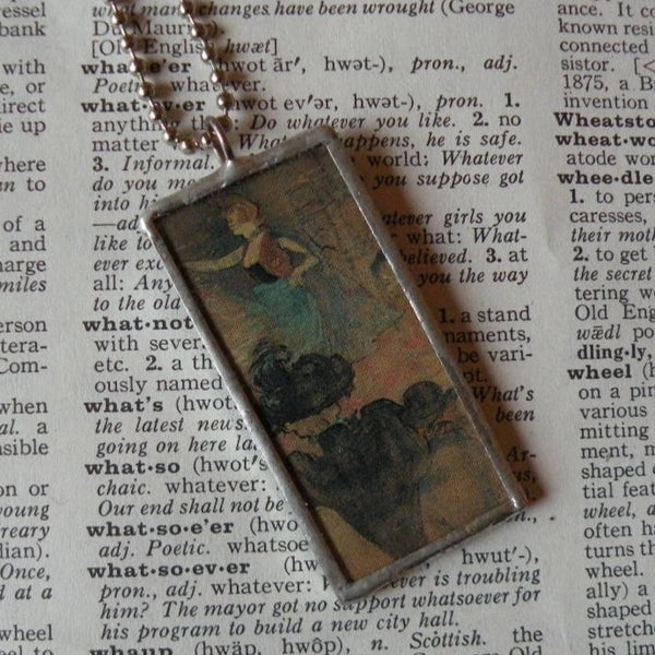 Toulouse-Lautrec Dancing Woman &  Klimt's Roses in Trees, upcycled to soldered glass pendant