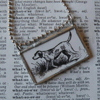 Fox Hound, vintage 1940s dictionary illustration, up-cycled to hand-soldered glass pendant