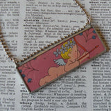 Cupid and Daffodils, vintage children's book illustration up-cycled to soldered glass pendant