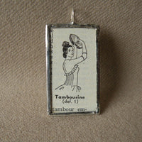 Tambourine Player, Bizet Carmen opera, vintage illustration up-cycled to soldered glass pendant