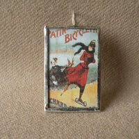 Woman rollerskating, vintage illustration, handmade soldered glass pendant with choice of necklace, bookmark or keychain