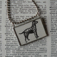 Labrador retriever dog, vintage 1940s dictionary illustration, up-cycled to hand-soldered glass pendant