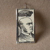 Victorian man, toupee, wig, vintage 1902 illustration, upcycled to soldered glass pendant