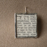 Pickerel Frog, vintage 1940s dictionary illustration, upcycled to hand-soldered glass pendant