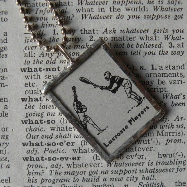 Lacrosse Players, 1940s dictionary illustration upcycled to soldered glass pendant
