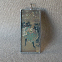 Toulouse-Lautrec -  Moulin Rouge Can Can Dancer, upcycled to soldered glass pendant