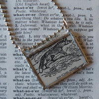 Fox, vintage 1940s dictionary illustration, up-cycled to hand-soldered glass pendant
