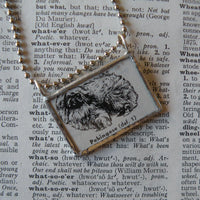 Pekingese dog, vintage 1940s dictionary illustration, up-cycled to hand-soldered glass pendant