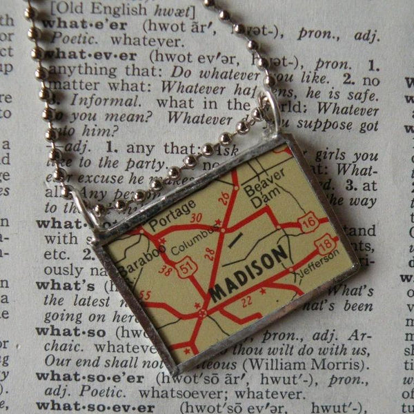 Madison, Wisconsin vintage map, upcycled to soldered glass pendant