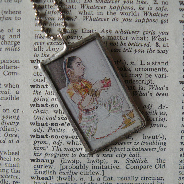 Indian Rani miniature painting, Mughal art upcycled to soldered glass pendant