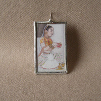 1Indian Rani miniature painting, Mughal art upcycled to soldered glass pendant