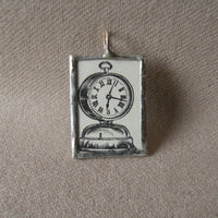 Vintage Alarm Clock, vintage 1902 illustration up-cycled to soldered glass pendant, choice of necklace, bookmark, or keychain
