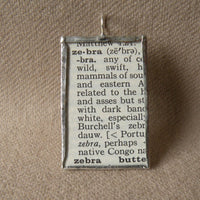 Zebra, vintage 1940s dictionary illustration, up-cycled to soldered glass pendant