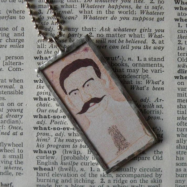 Folk art muscle man, vintage illustration, hand-soldered glass pendant