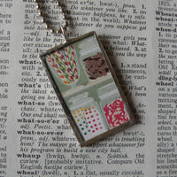 Candy jars, vintage illustration, up-cycled to soldered glass pendant