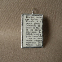 Pax Cross,  Medieval Christianity, vintage dictionary illustration upcycled to soldered glass pendant