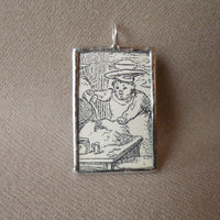 Chef and baker, vintage children's book illustration upcycled to soldered glass pendant