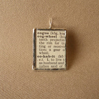 Cog Wheel, vintage dictionary illustration up-cycled to soldered glass pendant