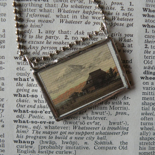 Mount Fuji, Japanese woodblock print, upcycled to soldered glass pendant