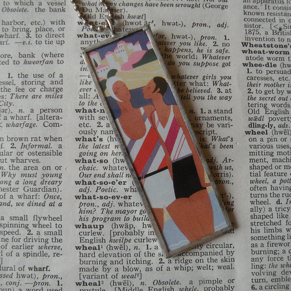 Monaco, France, French Riviera, vintage travel poster, upcycled to hand soldered glass pendant