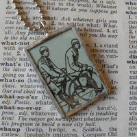 Vintage Bicycles / Bicyclists, vintage illustration, upcycled to soldered glass pendant
