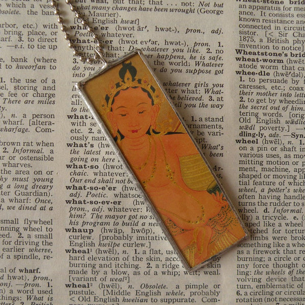 1Buddha / Buddhist Art up-cycled into 2-sided, soldered glass pendant