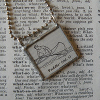 Canoe, canoeing, vintage 1940s dictionary illustration, up-cycled to soldered glass pendant