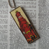 Times Square, New York City, Vintage postcard image, 2-sided hand-soldered glass pendant