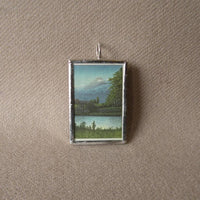 Mount Fuji scene, Japanese Woodblock Print, up-cycled to soldered glass pendant