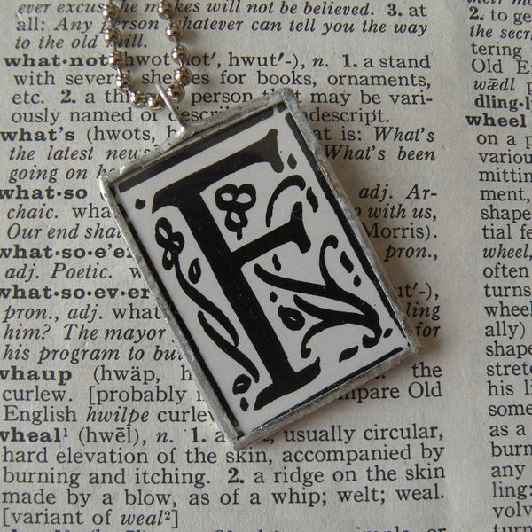 Letter F initial / monogram, soldered glass pendant necklace with Art Nouveau design