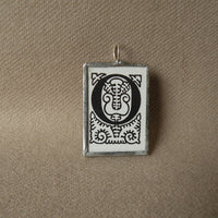 Letter O initial monogram, art nouveau design upcycled to soldered glass pendant