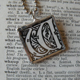 Letter W initial monogram, art nouveau design, upcycled to soldered glass pendant