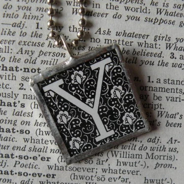 Letter Y initial monogram, art nouveau design up-cycled to soldered glass pendant