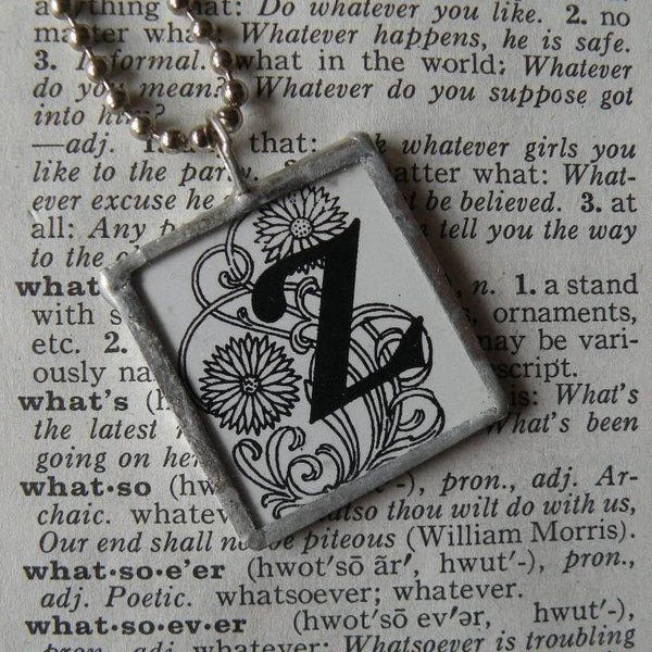 Letter Z initial / monogram, art nouveau design up-cycled to soldered glass pendant