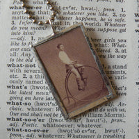 Penny farthing bicycle, antique photograph upcycled to soldered glass pendant