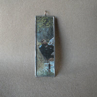 Claude Monet, Luncheon on the Grass, 2-sided hand soldered glass pendant