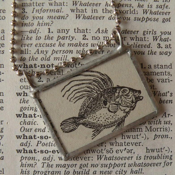 Dory Fish, vintage scientific dictionary illustration, upcycled to hand soldered glass pendant, includes choice of necklace