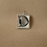 Letter D initial monogram, art nouveau design up-cycled to soldered glass pendant