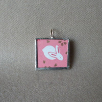 Bunny Rabbits, Japanese illustration, up-cycled to hand-soldered pendant