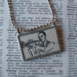 Trumpet, coronet player, music, vintage dictionary illustration up-cycled to soldered glass pendant