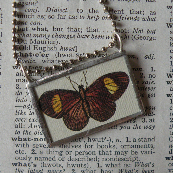 Butterfly and flowers, vintage scientific illustrations, upcycled to 2-sided soldered glass pendant