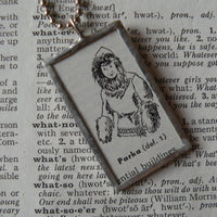 Eskimo woman in parka, vintage dictionary illustration, hand-soldered glass pendant