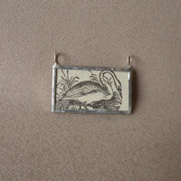 Wild swan, vintage dictionary illustration, up-cycled to hand soldered glass pendant