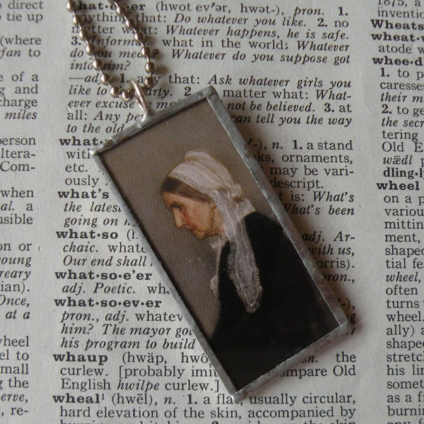 Whistler's Mother, painting, art history, upcycled to soldered glass pendant