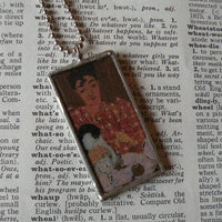 Pierre Bonnard, The Checked Blouse, Gustav Klimt, upcycled to soldered glass pendant