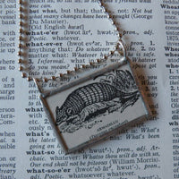 Armadillo, vintage 1940s dictionary illustration, up-cycled to hand-soldered glass pendant