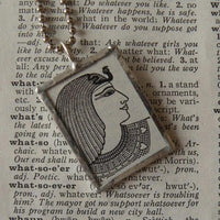 Ancient Egyptian Goddess Queen Cleopatra, vintage dictionary illustration, upcycled to soldered glass pendant