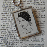 Woman in French beret, vintage dictionary illustration, upcycled to soldered glass pendant, with choice of necklace, bookmark or keychain