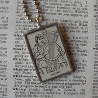 Psaltery, ancient greek, roman harp, vintage dictionary illustration, upcycled to soldered glass pendant