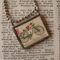 Vintage Bicycle advertising illustration upcycled to soldered glass pendant